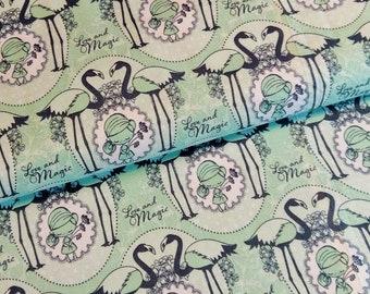 Aunt Ema Flamingo cotton mint green