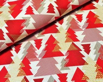 Cotton fabric Christmas fir trees