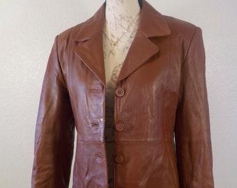 Leather Blazer Brown Jacket Size M Michael Michelle Vintage Pristine Condition