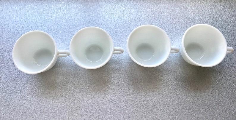 9ea2a0470f5 Set of 4 Pyrex White Milk Glass Tea Cups, Coffee Mugs, Tea Party