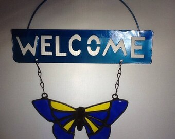 stained glass butterfly welcome sign