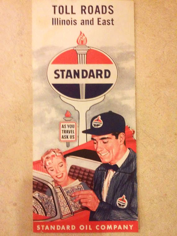 Toll Roads Illinois Map.Standard Oil Co Vintage Toll Roads Map Advertisement Etsy