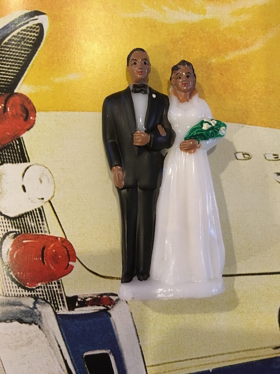 Vintage Hand Painted Black Bride and Groom Cake Topper | Etsy