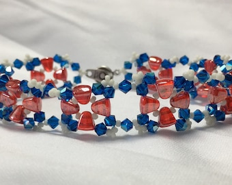 Hand Stitched Patriotic Red White Blue Bracelet