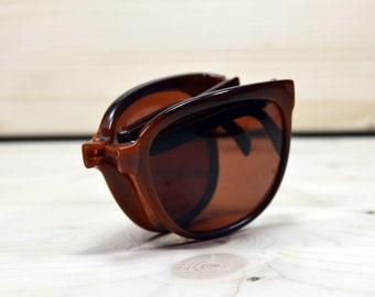 7805ff69d3 Vintage Sunglasses. INDO. Plastic. Made in Spain. NOS Unworn. Square shape.  Retro Wayfarer plastic. Folding collapsible brown cr39 lens