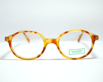 0ae884f2a18 Vintage Eyeglasses. Uc of Benetton . Classic Acetate Round Glasses. Unworn.  Round shape. Round eye carey havana style. Rx eyewear.Spectacles