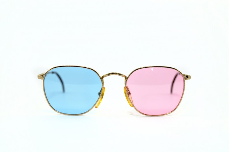 UNIQUE Custom NOS Vintage Eyeglasses Recycled pair Sun Lenses Pink blue Handmade lenses Fitting Polygonal SUNGLASSES hipster cool chic top