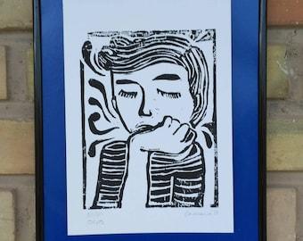 Ideas, linoleum linocut estampa print illustration printmaking prints linoleum