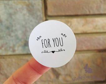 """54 X Glanz beendet Runde Sticker, """"for you"""", 35 mm Durchmesser"""