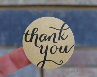 """60 x Brown Kraft Round Stickers, """"thank you"""", 38mm diameter"""