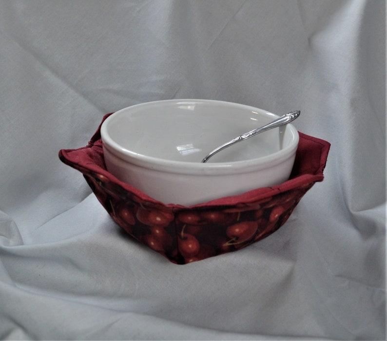 Bowl Hot Pad Microwave Bowl Cozy Soup Bowl Cozy Bowl Pot Holder Red Cherries Bowl Cozy Bowl Cozy