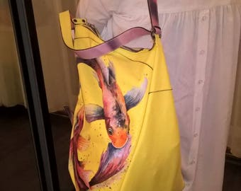 Women's leather handbag with bright pattern, handmade.