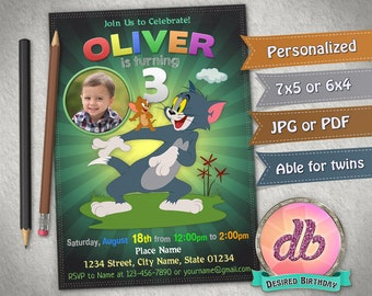 Tom Jerry Invitation Birthday Party Pet Cat Mouse And Cartoon Personalized Printable Digital File