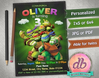 Teenage Mutant Ninja Turtles Invitation TMNT Birthday Party Cartoon Personalized Printable Chalkboard Digital File