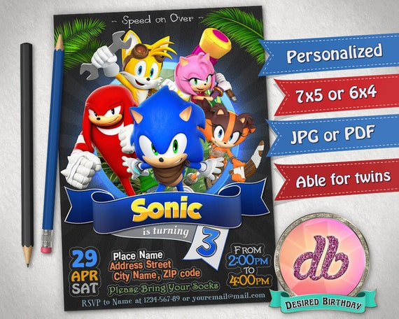 Sonic Invitation Sonic Birthday Party Hedgehog Sonic the