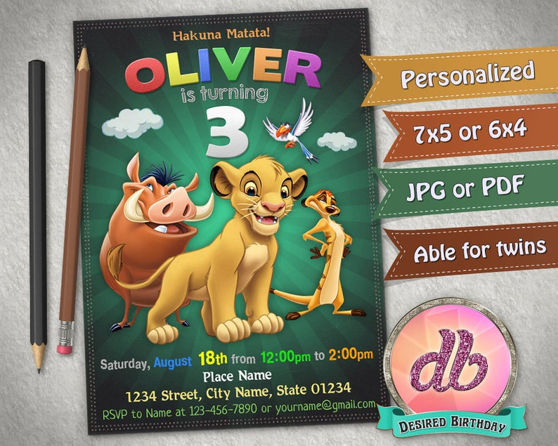 Le Roi Lion Invitation Fête Danniversaire Roi Lion Timon Pumba Simba Invitation Disney Lion Garde Personnalisé Imprimable Fichier