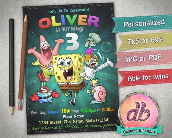 PACK OF 12 SPONGEBOB SQUAREPANTS INVITATIONS INVITES BIRTHDAY PARTY SUPPLIES
