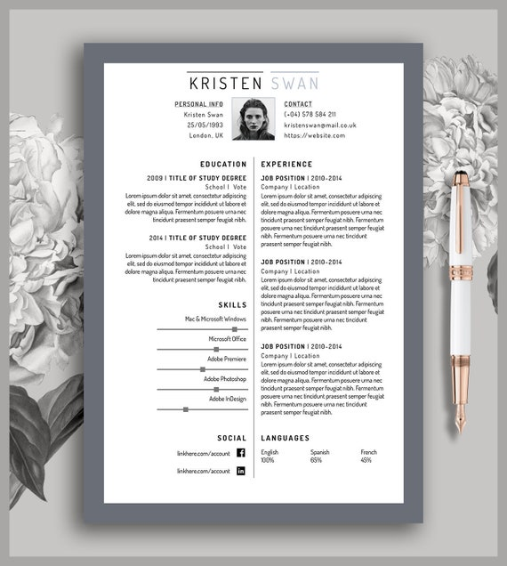 resume template 2 pages cover letter cv printable etsy