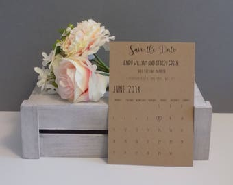 Shabby Chic Love Heart Calendar Save the Date Invitation SAMPLE