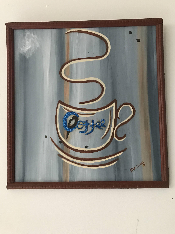 Acryl Holz malen Kaffee Tafel malen Acryl Wanddekoration   Etsy