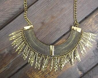 Gold Toned Hammered Metal Fringe Boho Bohemian Necklace