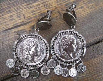 Vintage French Napoleon Empereur Silver Color Clip on Earrings, Dangling, Boho Jewelry