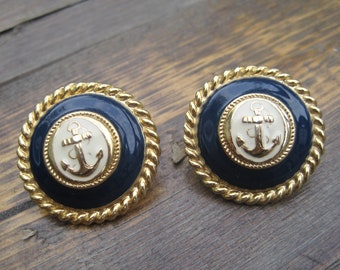 Nautical Anchor Vintage Blue and Gold Retro Earring Studs | Enamel | Gifts for HER