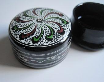 Lacquered Hand Painted Round Circle Case | Jewelry Keepsake Box | Secret Trinket Holder Organizer