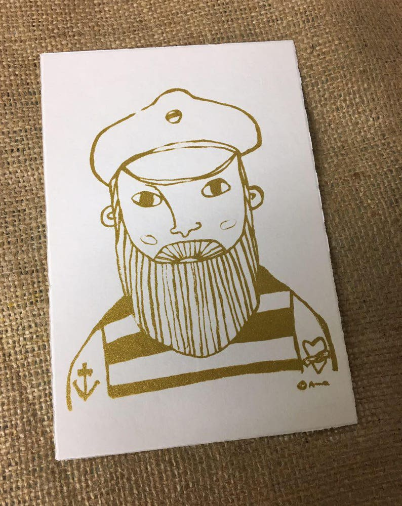 gold Screen printing postcard with sailor motif Pit