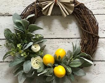 Lemon Wreath, Lemons, Lambs Ear Wreath, Spring Wreath, Citrus Wreath, Easter Wreath, Mother's Day Wreath, Lambs Ear Wreath