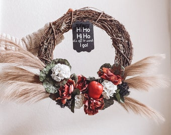 Fall Apple Wreath with Burgundy Peonies and White hydrangeas, Hi Ho It's off to work I go Snow White Halloween Themed Wreath
