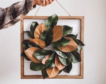 Fall mini magnolia wreath, White framed shiplap board, Farmhouse style magnolia leaves