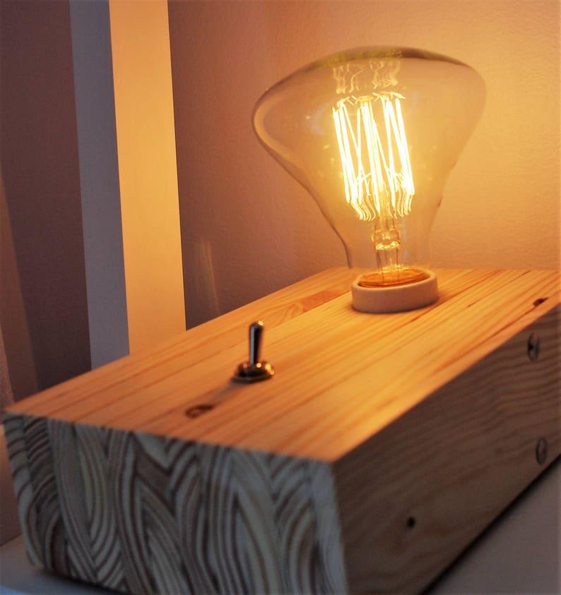 ModerneTableScandinave LampeBois LampeBois RecycléEdisonLampe De RecycléEdisonLampe ChevetPaletteVintageNoelChaletBouton WxrodCBe