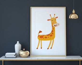 Giraffe Nursery Wall Art Print, Wall Decor,  Animal Print, Zoo Animals, Nursery Art, Instant Digital Download