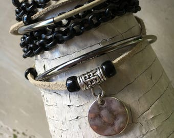 Triple wrap black matte chain and leather bracelet with magnetic clasp, wrap bracelets, leather wrap bracelets, chain wrap bracelets.