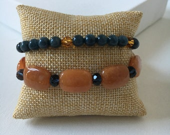 Set of beaded layering bracelets. Stack bracelets. Layering bracelets. Beaded jewelry. Handmade jewelry. Beaded bracelets. Bracelet sets.