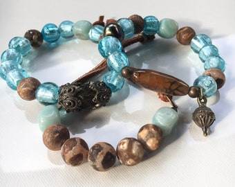 Foil glass and rustic Tribal bead stack bracelets. Stack bracelets. Layering bracelets. Beaded bracelets. Spring jewelry. Beaded jewelry.