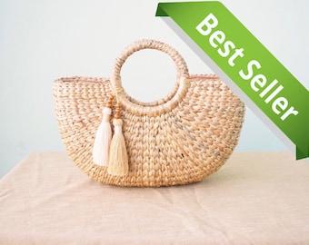Free tassels • Beach bag • Straw bag • Weaving seagrass top handle bag • handmade bag • boho bag • straw purse • cream handwoven lining