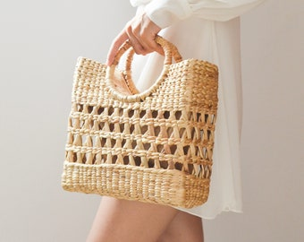 Beach bag • Straw bag • Weaving seagrass • top handle bag • handmade bag • boho bag • straw purse •