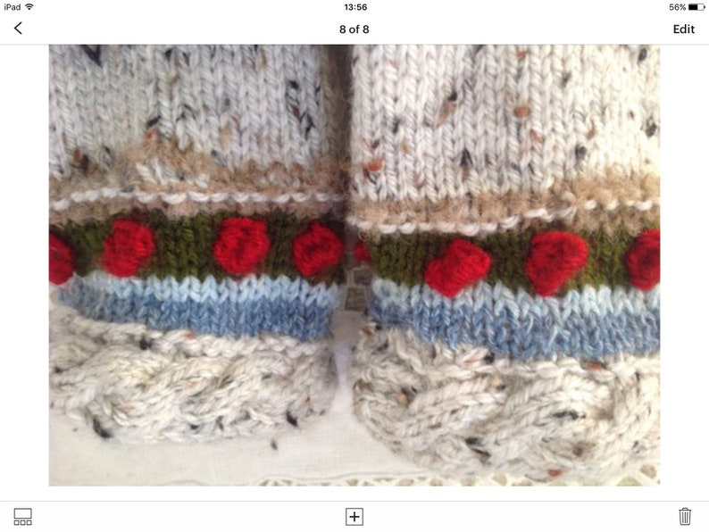 Ladies trapper hat and romantic matching socks offer for Valentines day hand made in Aran Tweed The socks have roses around the ankle!