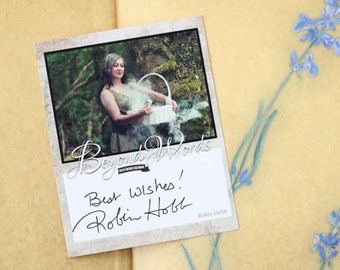 Signed Robin Hobb book plate featuring image from the 2016 Beyond Words fantasy author calendar
