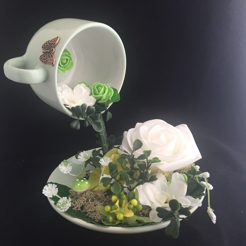 Swell Floating Tea Cup Centerpiece Alice In Wonderland Mad Hatter Tea Party Mothers Day Baby Shower 16Cm X 17Cm Green Full Size Cup Download Free Architecture Designs Rallybritishbridgeorg