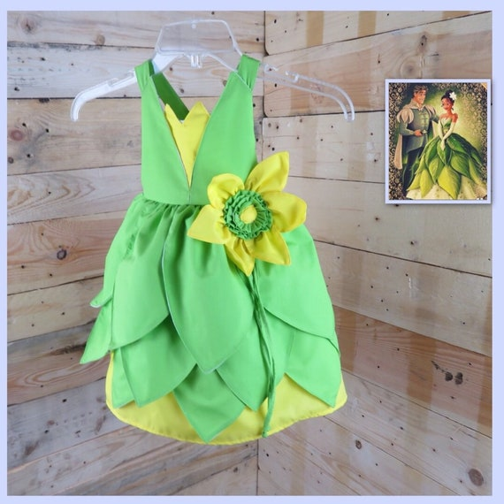 Baby girl dress, baby dress inspired in tiana princess, baby girl toddler dress, birthday party dress, tiana dress costume