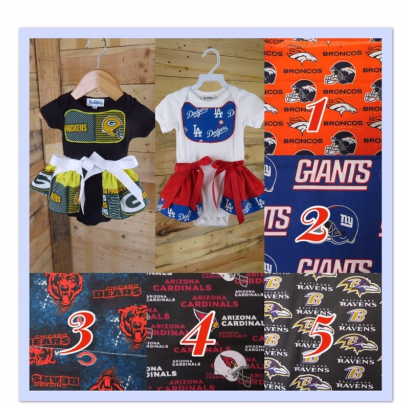 6f72b337 Broncos, Giants, Chicago Bear, Arizona Cardinals, Baltimore Ravens,  Packers, LA Dodgers inspired baby dress, themed gift