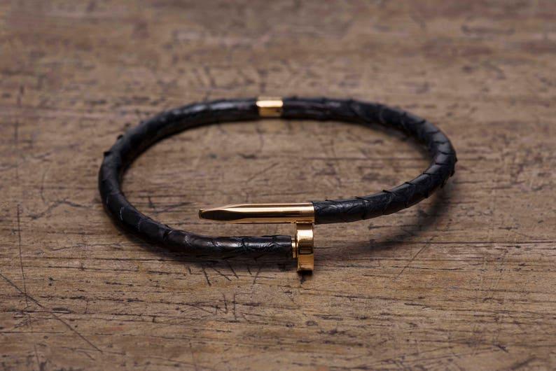 Gold Nail Bracelet Black Python Leather