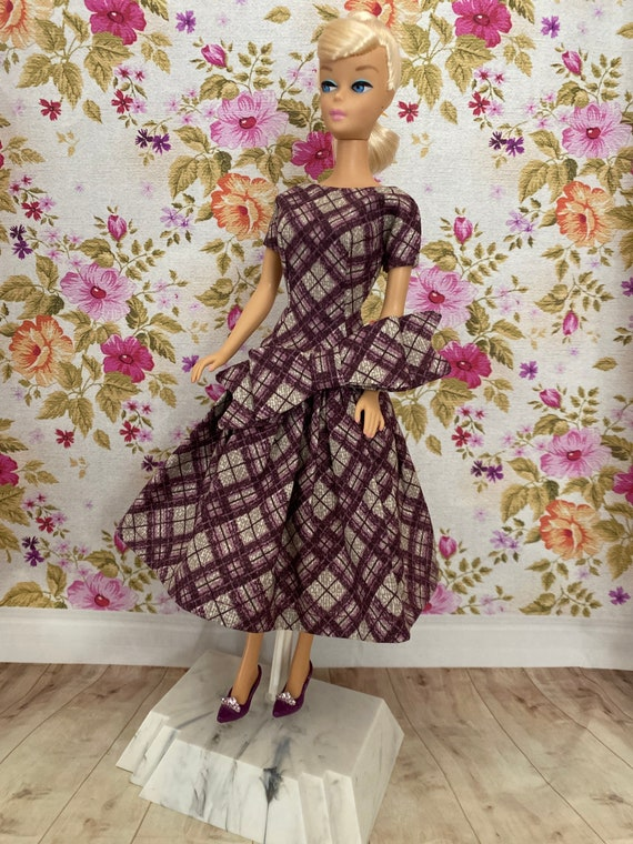 Vintage Style Ooak Barbie Dress With Cap And Shoes Handmade