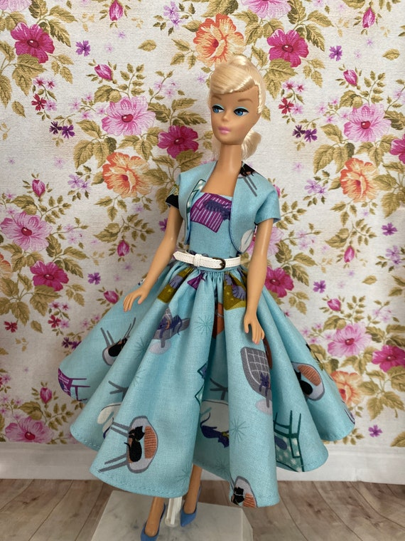 Stockings And Necklace Handmade Vintage Style Ooak Barbie Dress With Shoes