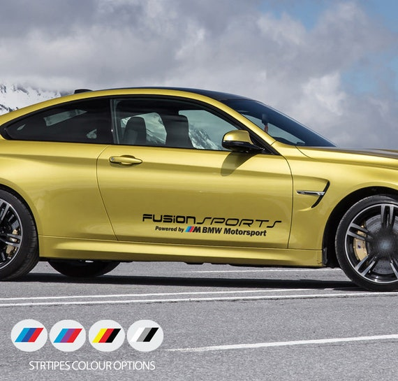 3fe351b805fe 2 x Fusion Sports Powered by for BMW M Motorsport Door Car Vinyl STICKERS  Decals
