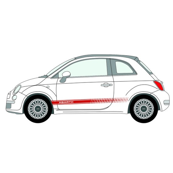 For Fiat 500 Abarth Car Vinyl 2 Stripes Kit Body Panel Decal Graphics Stickers