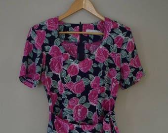 VERONICA DRESS | vintage dress | 80's dress | floral dress | large